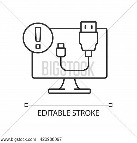 Usb Does Not Work Linear Icon. Cable Connection Issue. Desktop Computer Problem. Software Error. Thi