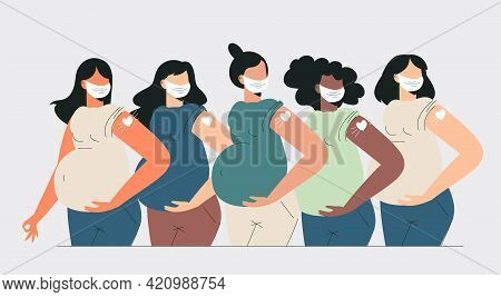Pregnant Women Vaccination Health Care Concept. Diverse Mothers After Vaccine Injection In Shoulder.