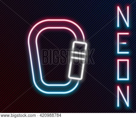 Glowing Neon Line Carabiner Icon Isolated On Black Background. Extreme Sport. Sport Equipment. Color