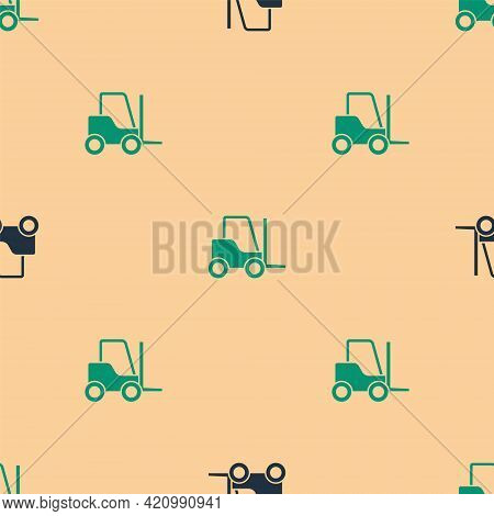 Green And Black Forklift Truck Icon Isolated Seamless Pattern On Beige Background. Fork Loader And C