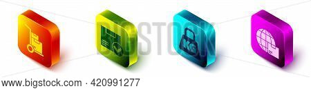 Set Isometric Hand Truck And Boxes, Package Box With Check Mark, Weight And Worldwide Shipping And B