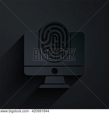 Paper Cut Monitor With Fingerprint Icon Isolated On Black Background. Id App Icon. Identification Si