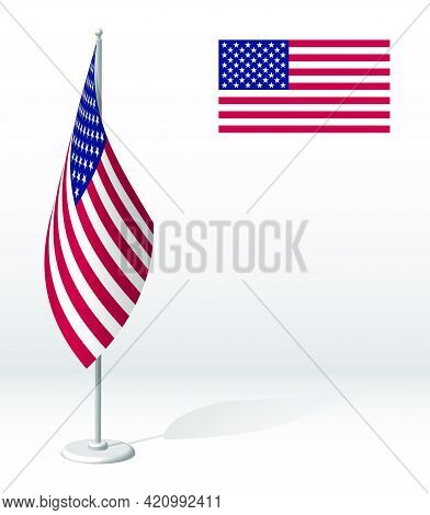 Flag Of United States Of America On Flagpole For Registration Of Solemn Event, Meeting Foreign Guest