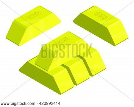 Gold Bar With 999 Fineness Of Metal. Preservation Of Wealth In Precious Metals. Isometric 3d Vector