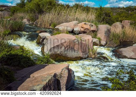 The Murmuring Waters Of The Tokovsky Waterfall In Ukraine. This Is The Only Steppe Waterfall In The