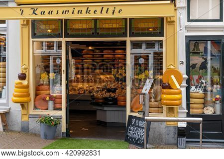 Typical Traditional Gouda Cheese Shop In The City Center Of Gouda