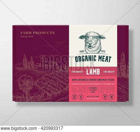 Premium Quality Lamb Mock Up. Organic Vector Meat Packaging Label Design On A Cardboard Box Containe