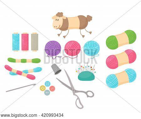 Set Of Sewing Accessories. Needles, Pins, Yarn, Wool, Spool Of Thread, Scissors. Vector Illustration
