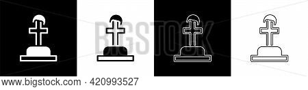Set Soldier Grave Icon Isolated On Black And White Background. Tomb Of The Unknown Soldier. Vector