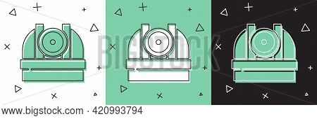 Set Astronomical Observatory Icon Isolated On White And Green, Black Background. Observatory With A