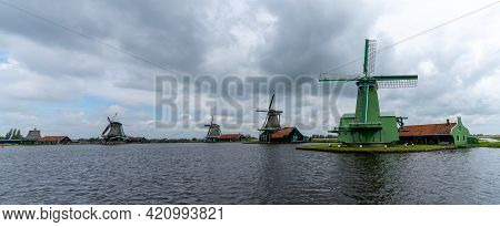 A Panorama View Of The Historic Windmills At Zaanse Schaans In North Holland
