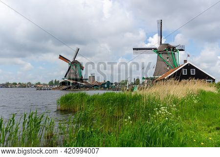 A View Of The Historic Windmills At Zaanse Schaans In North Holland