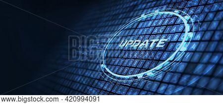Business, Technology, Internet And Network Concept. Update Software Computer Program Upgrade.3d Illu
