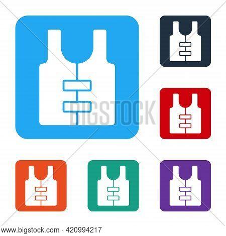 White Life Jacket Icon Isolated On White Background. Life Vest Icon. Extreme Sport. Sport Equipment.