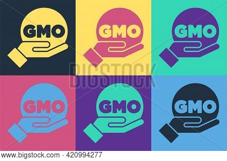 Pop Art Gmo Icon Isolated On Color Background. Genetically Modified Organism Acronym. Dna Food Modif