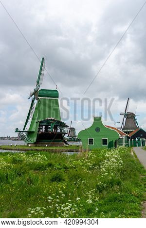 View Of The Historic Windmills At Zaanse Schaans In North Holland