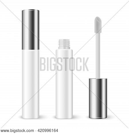 Vector 3d Realistic Plastic Closed, Opened White Lip Gloss, Lipstick, Concealer Package, Silver Cap
