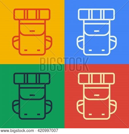 Pop Art Line Hiking Backpack Icon Isolated On Color Background. Camping And Mountain Exploring Backp