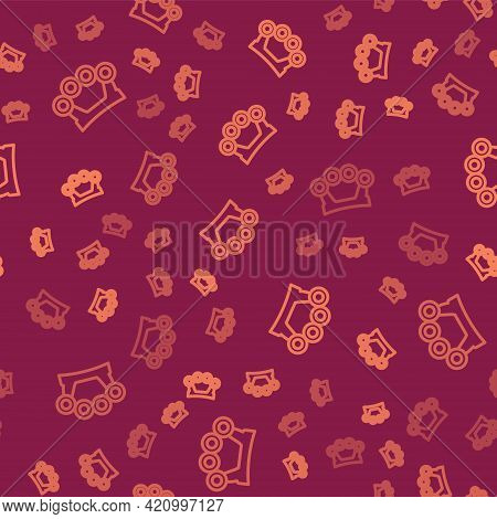 Brown Line Brass Knuckles Icon Isolated Seamless Pattern On Red Background. Vector