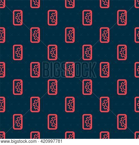 Red Line Software, Web Development, Programming Concept Icon Isolated Seamless Pattern On Black Back