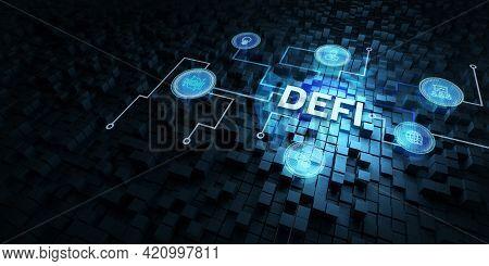 Defi -decentralized Finance On Dark Blue Abstract Polygonal Background. Concept Of Blockchain, Decen