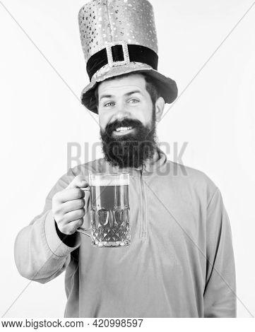 Alcohol Consumption Integral Part Saint Patricks Day. Irish Tradition. Man Brutal Bearded Hipster Dr