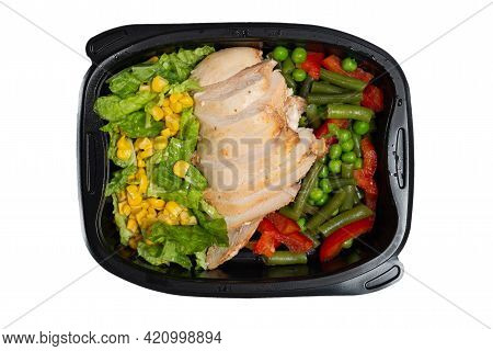Ready Food In A Container. Stewed Chicken, Stewed Vegetables. Isolated On A White Background..