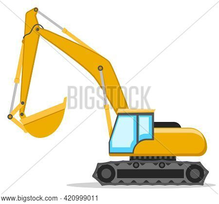 Yellow Excavator With A Bucket On A White Background. Construction Machinery