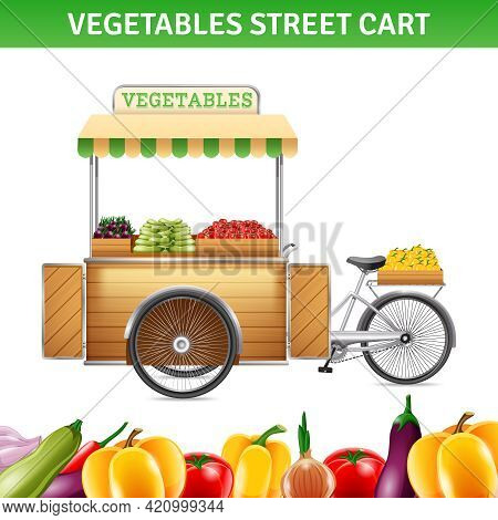 Vegetables Street Cart With Tomatoes Beetroot And Peppers Realistic Vector Illustration