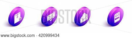 Set Isometric Envelope And Check Mark, Delete Envelope, Outgoing Mail And Mail Box Icon. Vector
