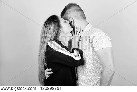 Couple In Love. Sharing Secrets. Couple Goals Concept. Man And Woman Beige Background. Family Love.