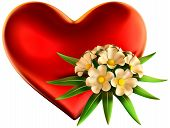 white flowers bouquet with big red heart for celebration of Valentine's Day on white background poster