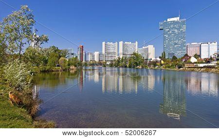 Skyline Uno City Vienna In Summer At The Kaiserwasser