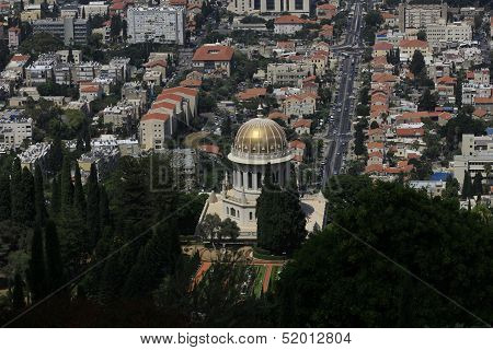 Haifa Bahaii Temple view from Mount Carmel