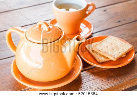 Hot Tea Cup And Crackers