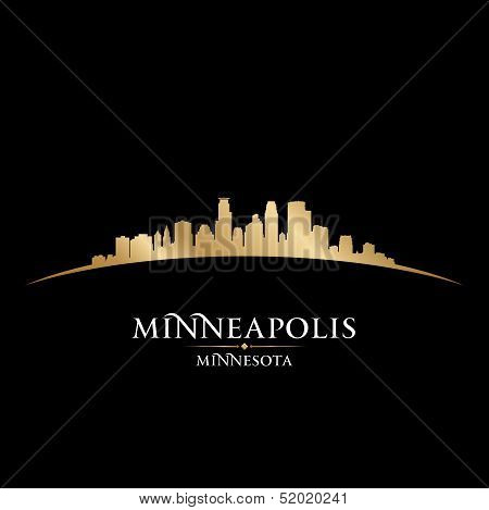 Minneapolis Minnesota City Skyline Silhouette Black Background