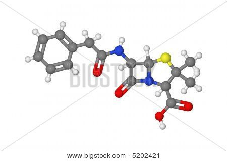 Ball And Stick Model Of Penicillin Molecule