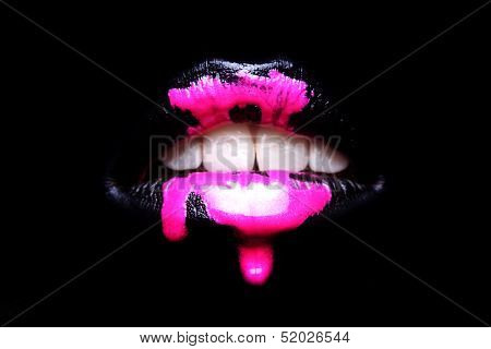Extreme Makeup Cosmetic Creation Using Lip Color