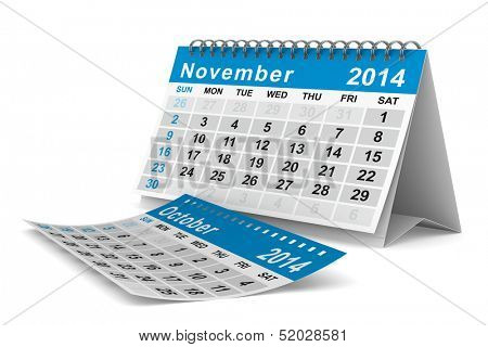 2014 year calendar. November. Isolated 3D image