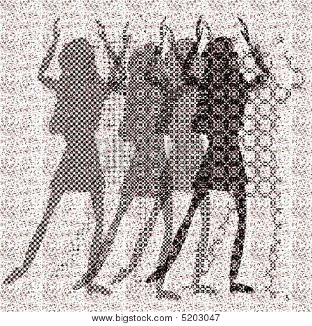 halftone raster dancing girls on dots background poster