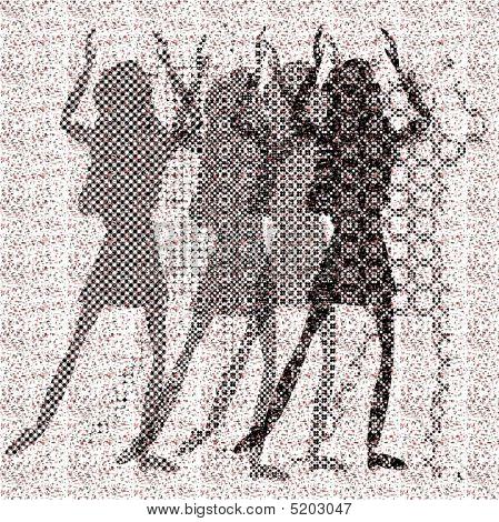 halftone raster dancing girls on dots background poster