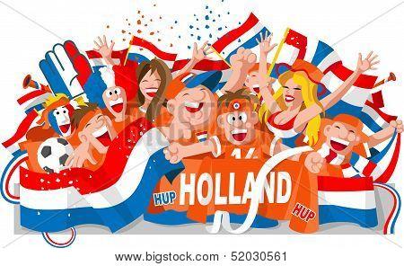Nederland soccer fans waving orange and national flags poster