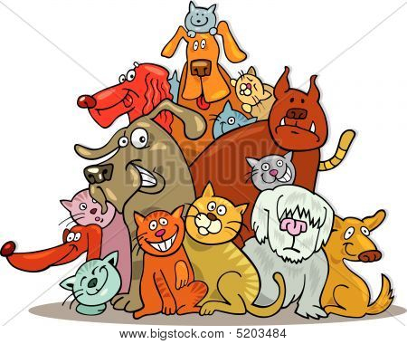 Cartoon vector illustration of large group of cats and dogs poster