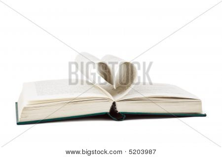 Book and heart shaped pages isolated on white background poster