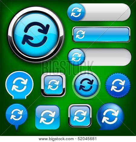 Synchronisation blue design elements for website or app. Vector eps10.
