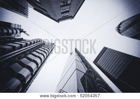 London - September 21: The Buildings Of 30 St Mary Axe, Gherkin, Lloyds, Leadenhall Building
