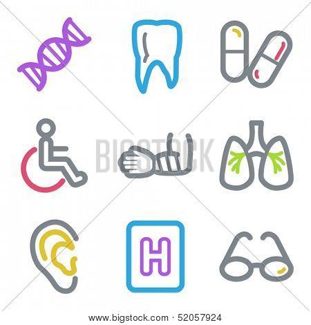Medicine web icons set 2, color line contour series