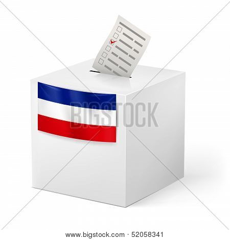 Ballot box with voicing paper. Yugoslavia.