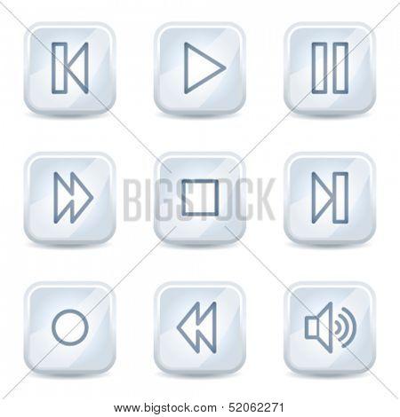 Walkman  web icons, white glossy buttons