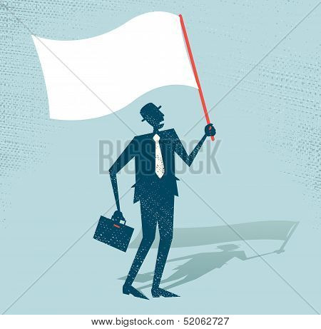Abstract Businessman waves the white flag of defeat